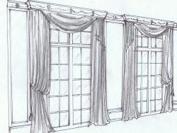 Window treatment design concept sketch